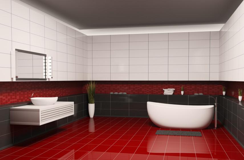 Szaro-biało-czerwona łazienka