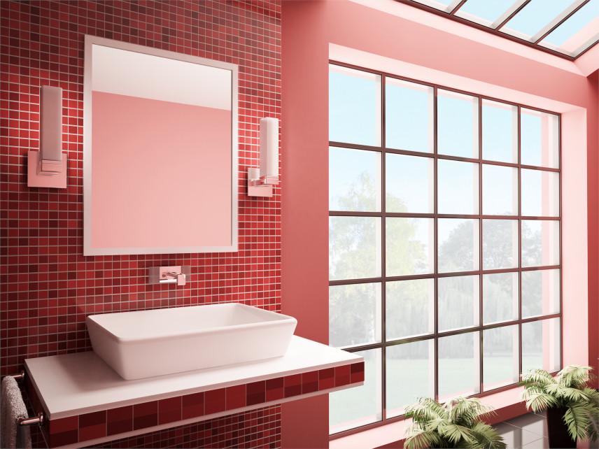 Designerska łazienka z czerwoną mozaiką