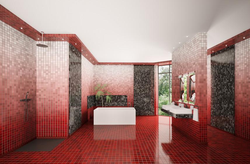Łazienka z czerwono-szarą mozaiką na ścianie