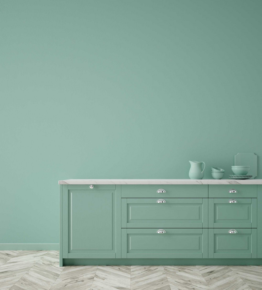 Zielona szafka w kuchni