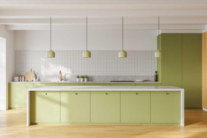 Kuchnia z zielonymi szafkami
