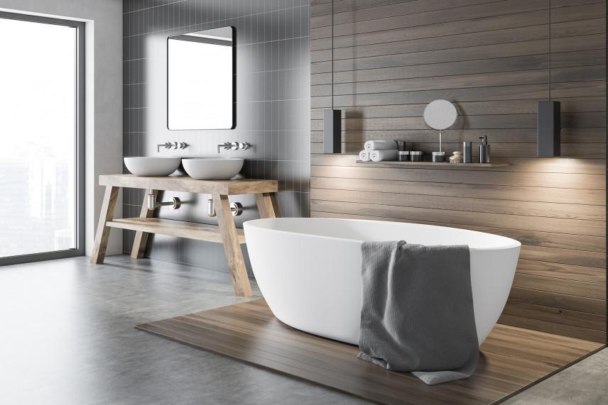 Szaro-drewniana łazienka w stylu skandynawskim