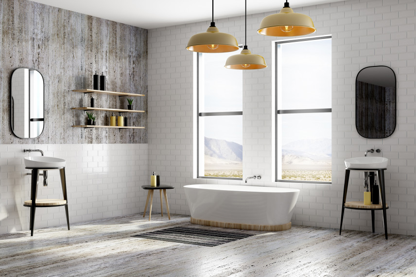 Stylowa łazienka  z białą cegłą na ścianie