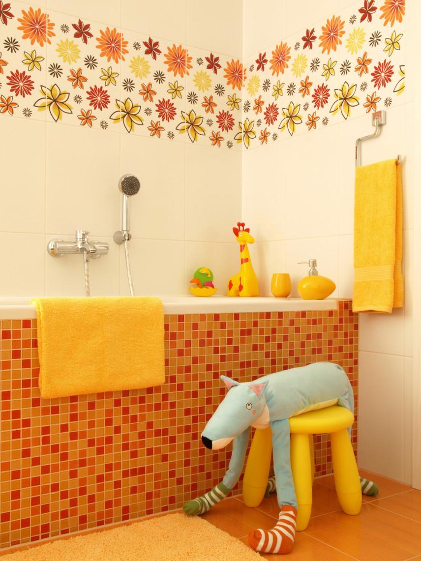 Łazienka w kolorze pomarańczowo-żółty