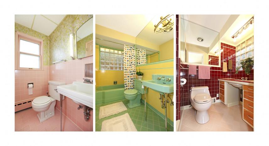 Zestaw kolorowych łazienek