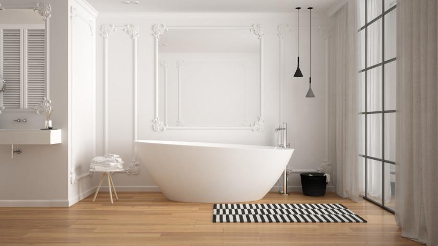 Designerska łazienka  z wiszącą lampą