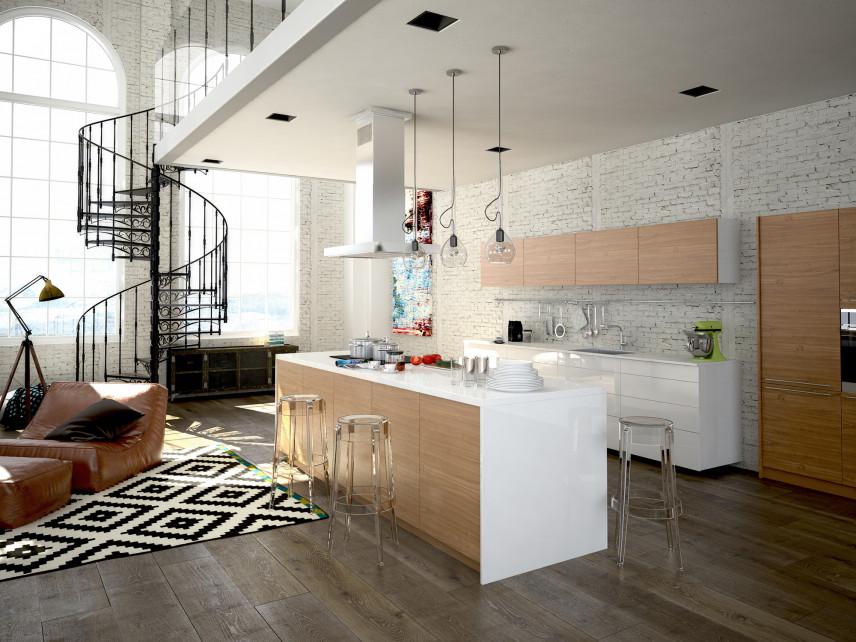 Kuchnia otwarta w mieszkaniu loftowym