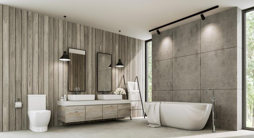 Szara łazienka w stylu skandynawskim