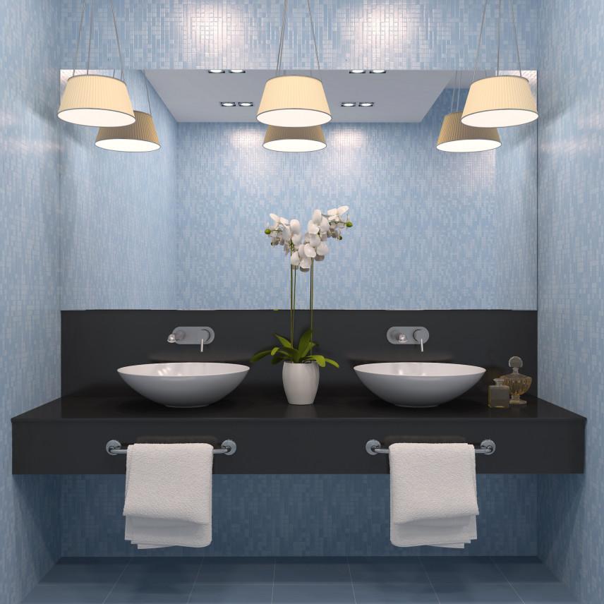 Nowoczesna łazienka z gustownymi lampami