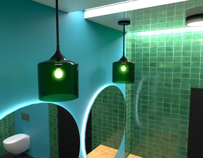Nowoczesna łazienka z zielonymi, wiszącymi lampami