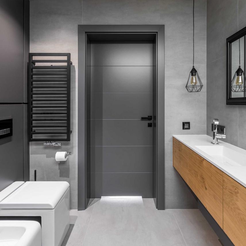 Nowoczesna łazienka koloru szarego