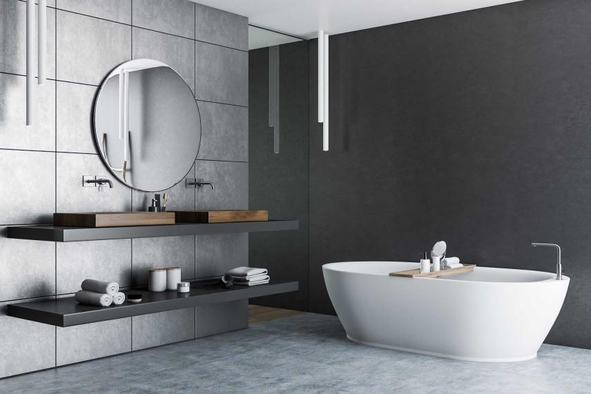 Szara, designerska łazienka
