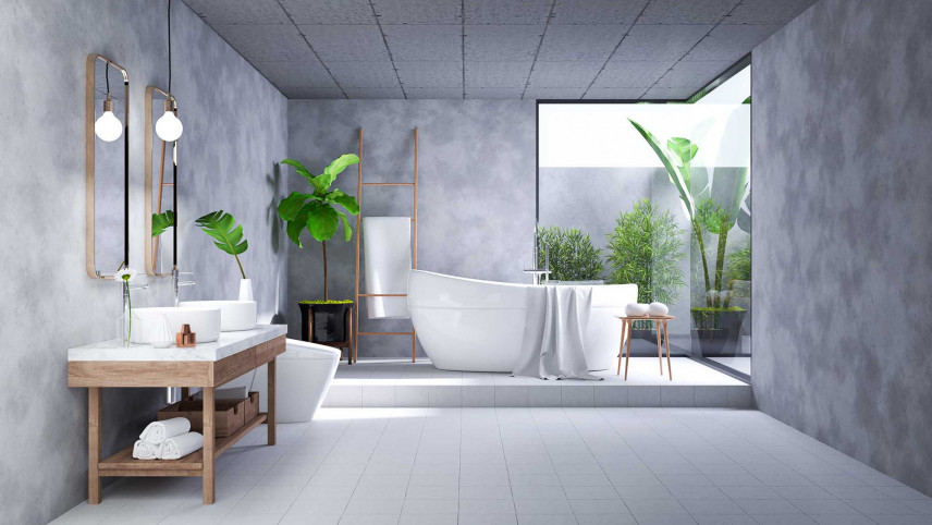 Łazienka z betonowymi ścianami