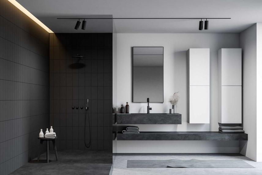 Designerska łazienka w kolorze szarym