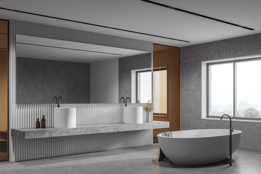 Nowoczesna łazienka z dużym oknem