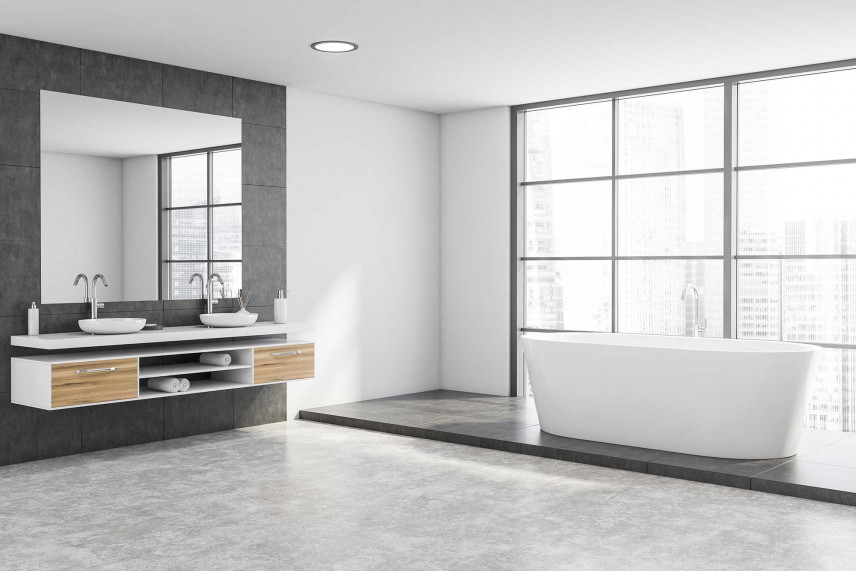 Szaro-biała łazienka