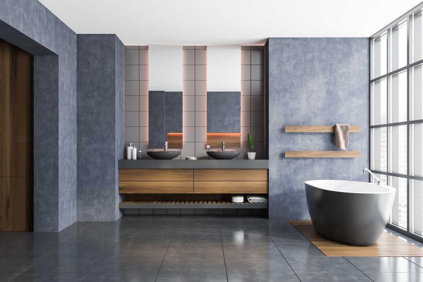 Stylowa łazienka w odcieniach szarości
