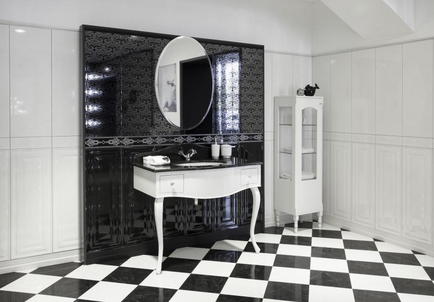 Czarno-biała łazienka w stylu glamour
