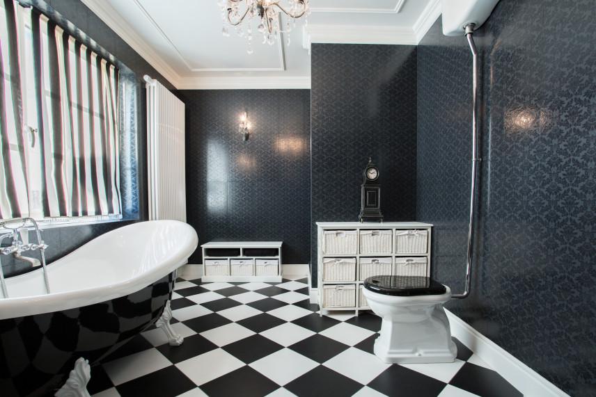 Łazienka czarno-biała vintage