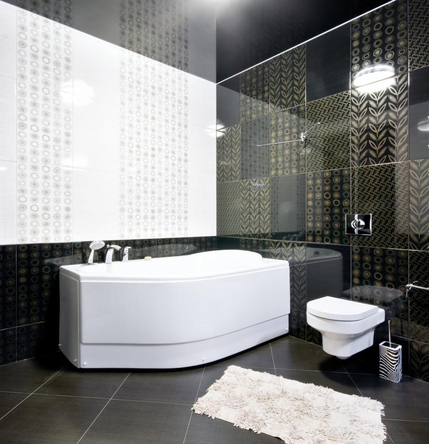 Nowoczesna czarno-biała łazienka