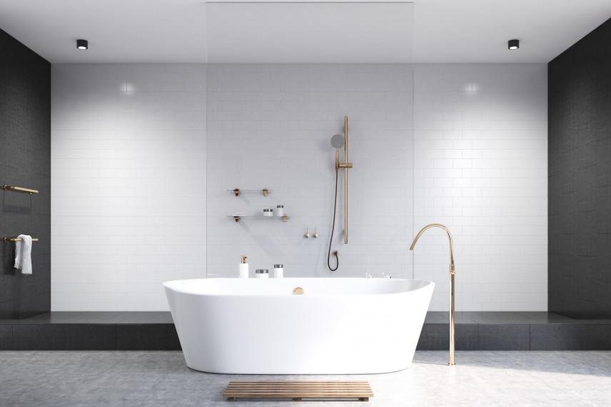 Czarno-biała łazienka z wanną i prysznicem