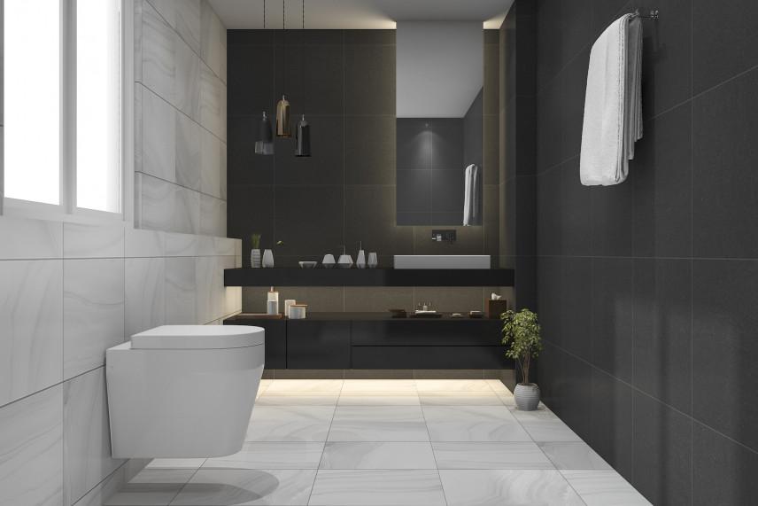 Wąska szaro-czarna łazienka