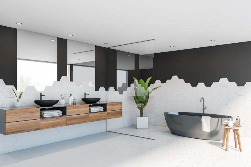 Designerska łazienka w kolorze czarno-białym