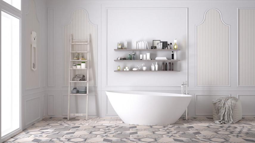 Biała łazienka z owalną wanną