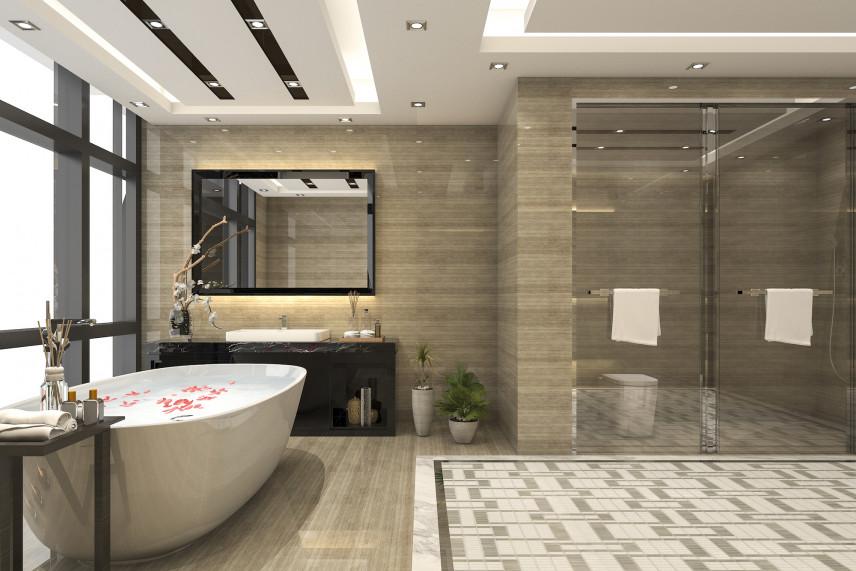 Łazienka w stylu skandynawskim z wolnostojącą wanną