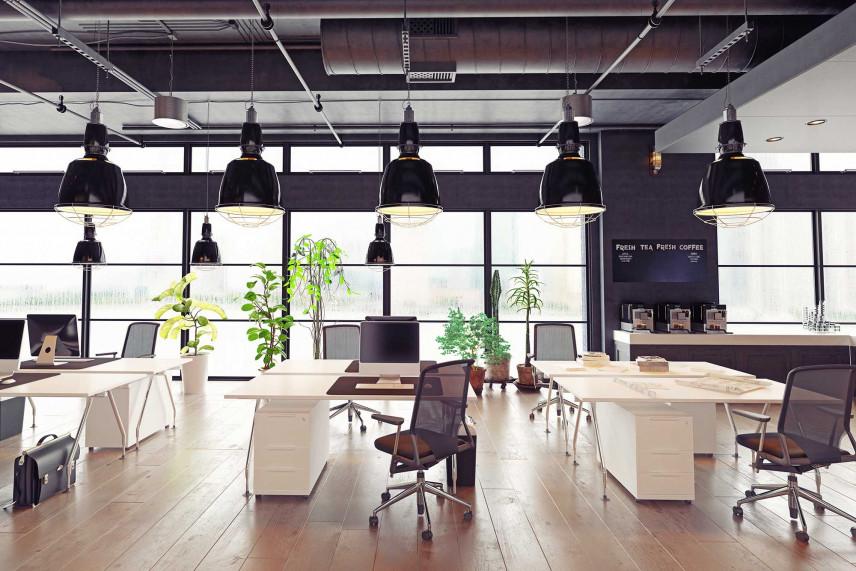 Duże biuro w stylu industrialno-skandynawskim.