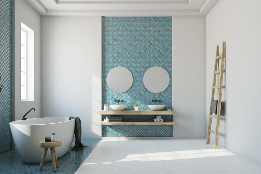 Łazienka w kolorze turkusowym z wanną