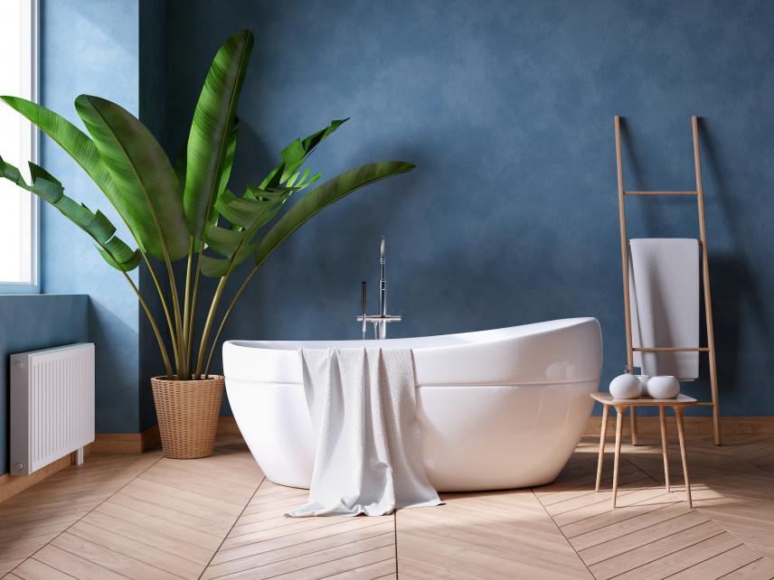 Niebieska łazienka w stylu skandynawskim