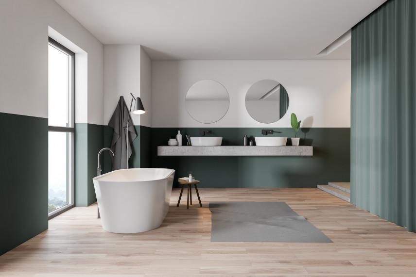 Elegancka łazienka z zielonymi dodatkami