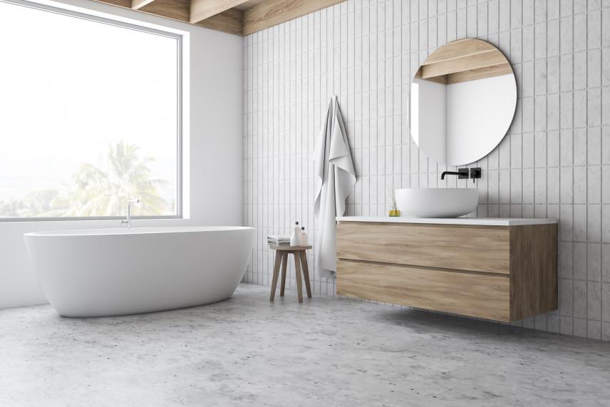 Nowoczesna łazienka z betonową podłogą