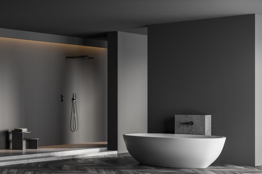 Szara łazienka z owalną wanną