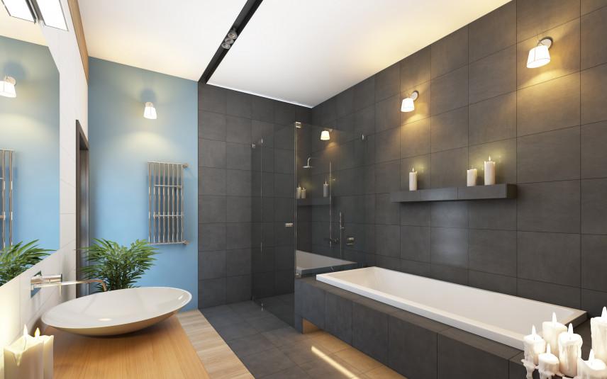Grafitowo-niebieska łazienka