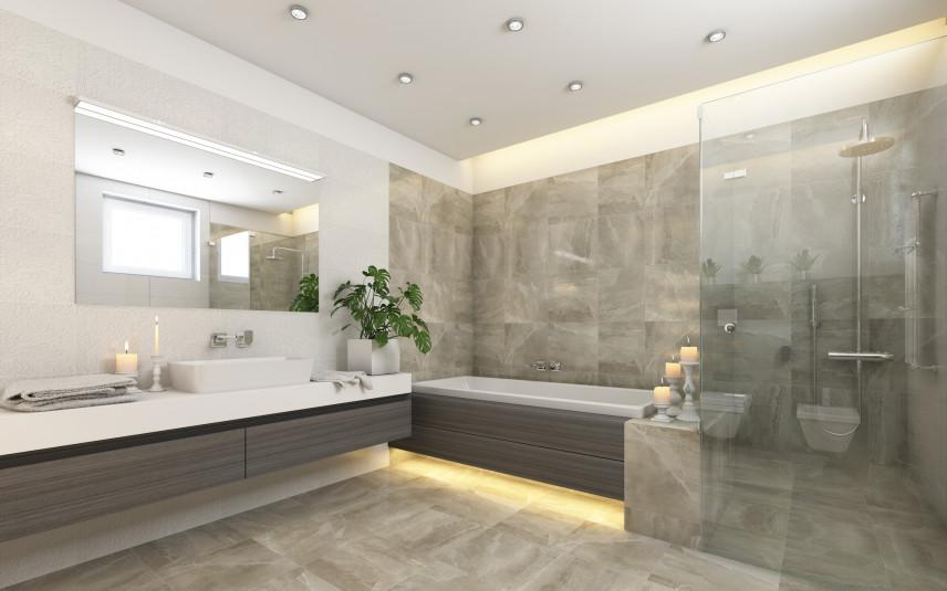 Szara, marmurowa łazienka z podświetlaną  wanną