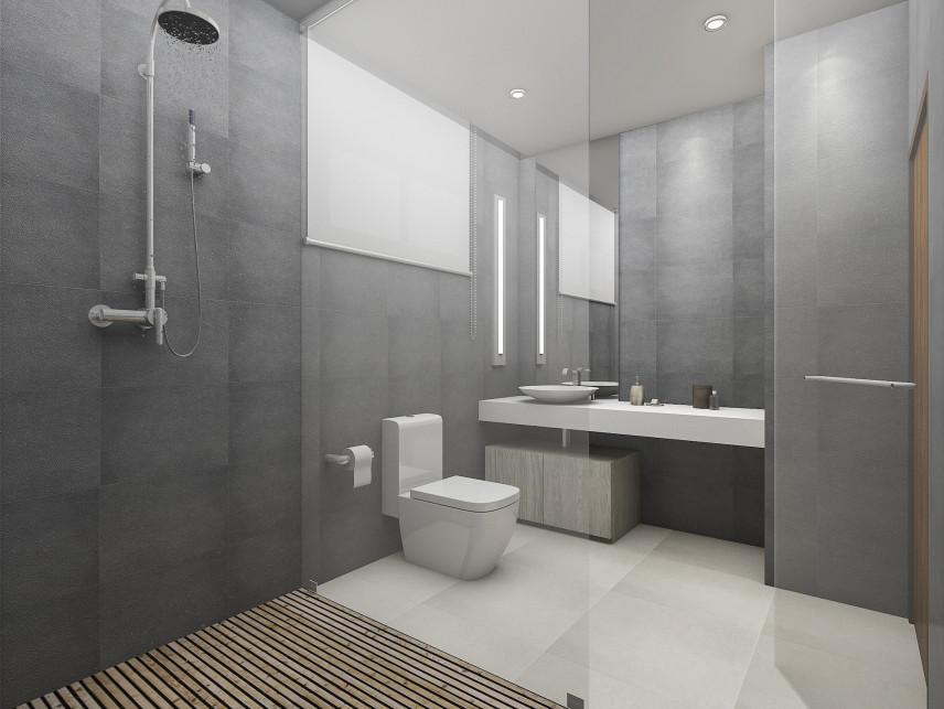 Łazienka z szarymi ścianami i prysznicem