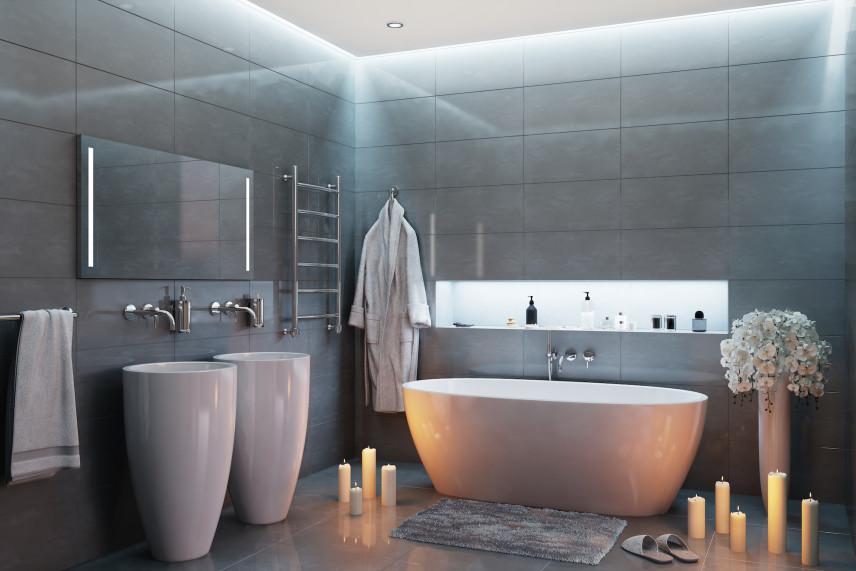 Łazienka z designerskimi umywalkami