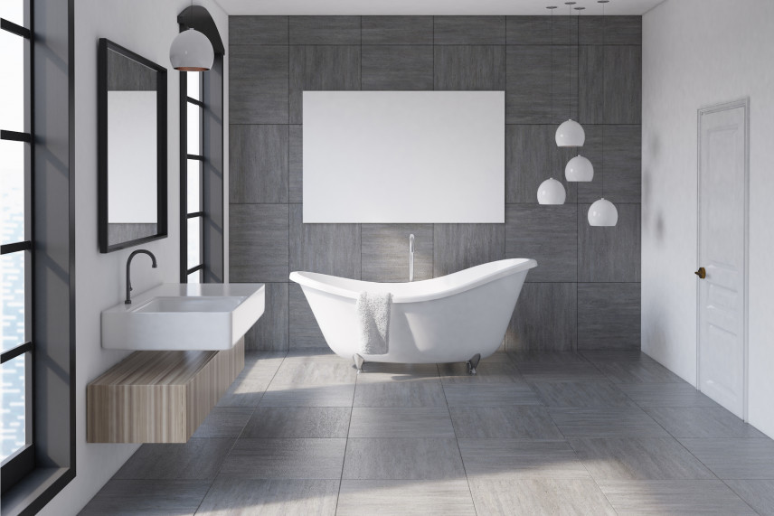 Designerska łazienka z szarymi ścianami i wiszącymi lampami