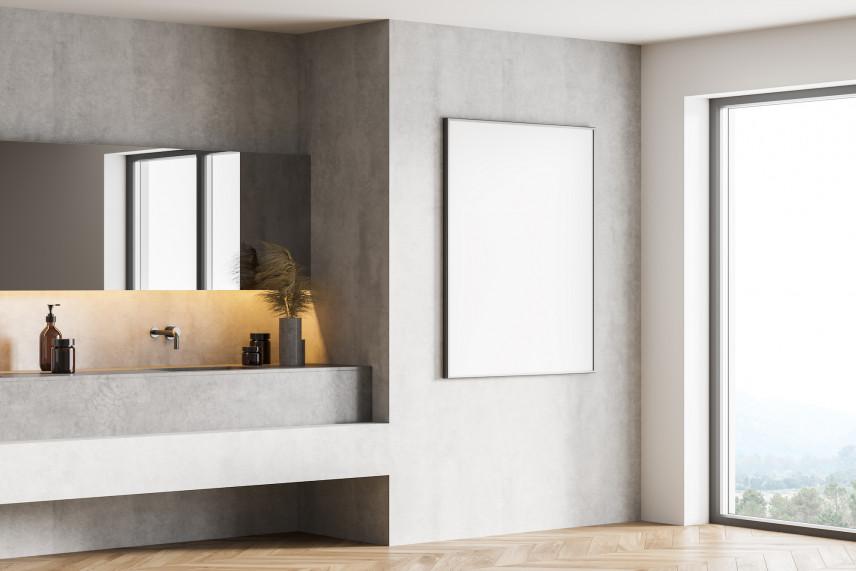 Łazienka z dużym oknem koloru szarego