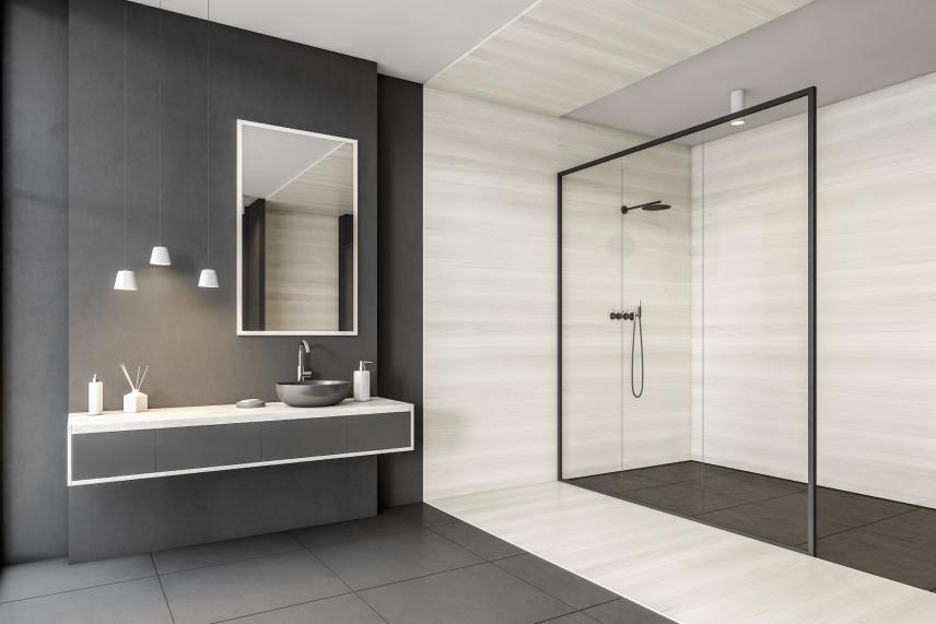 Grafitowo-beżowa łazienka z kabiną prysznicową