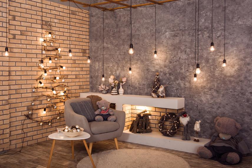 Salon z betonową ścianą cegłą