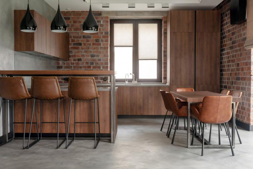 Projekt kuchni loft z jadalnią