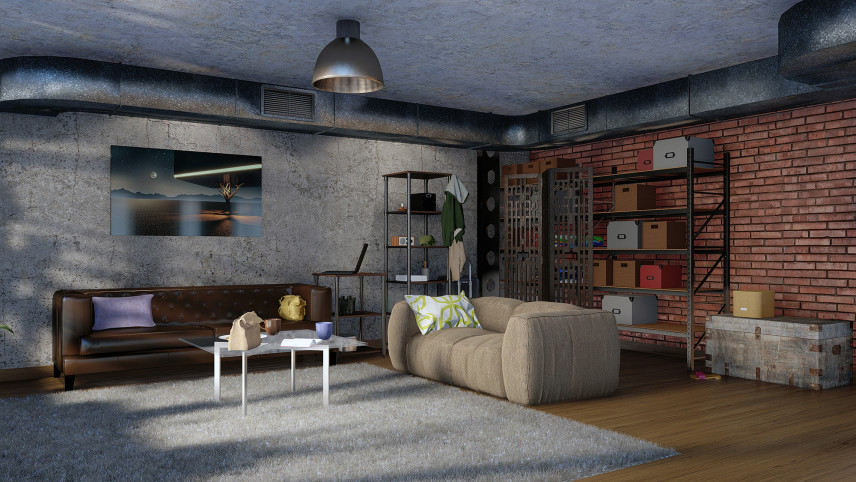 Salon w stylu industrialnym z ceglaną ścianą