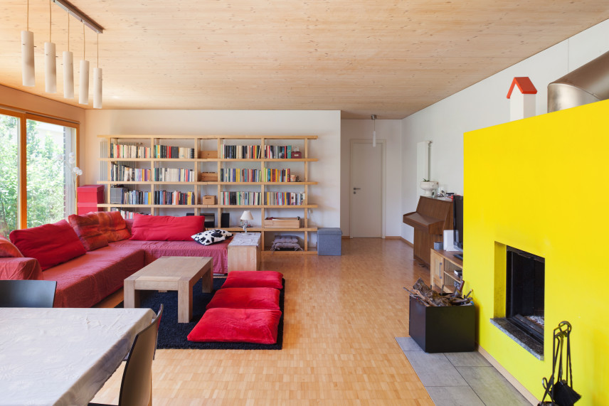 Nowoczesny, żółty salon