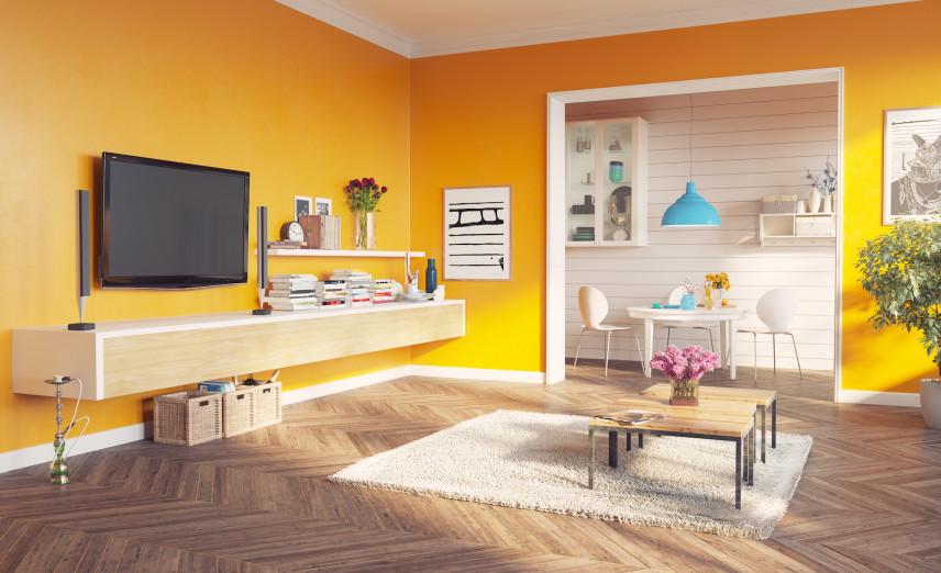 Żółty salon w stylu skandynawskim