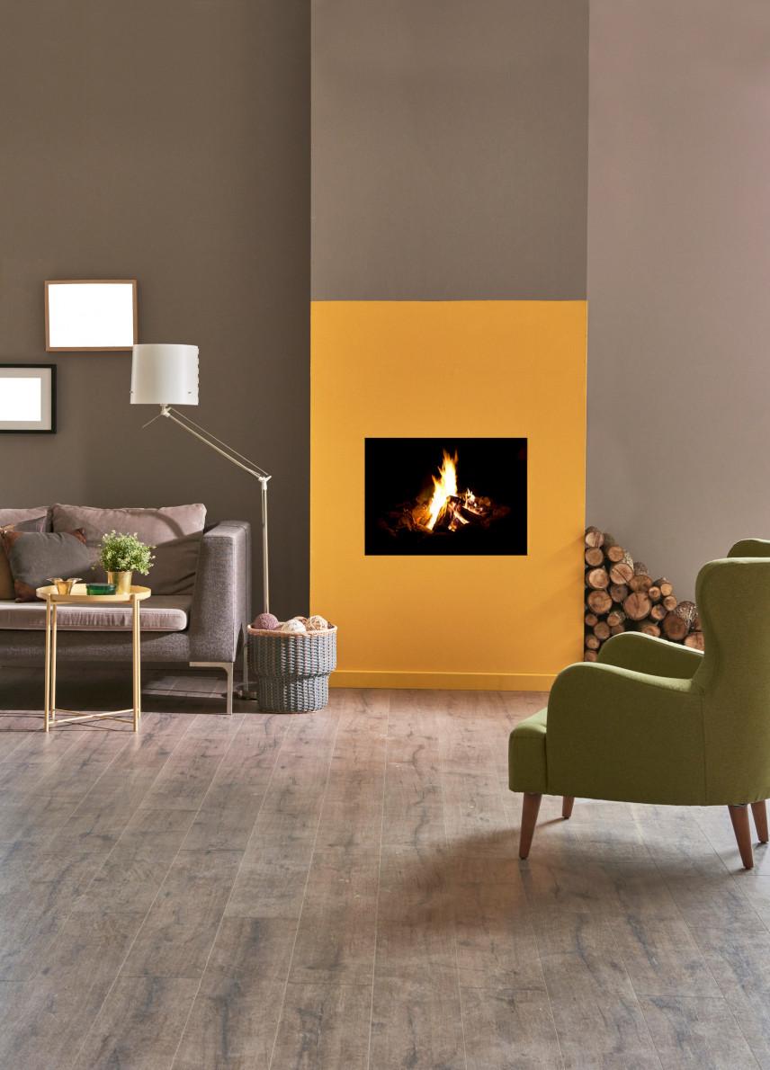 Szaro-żółty salon