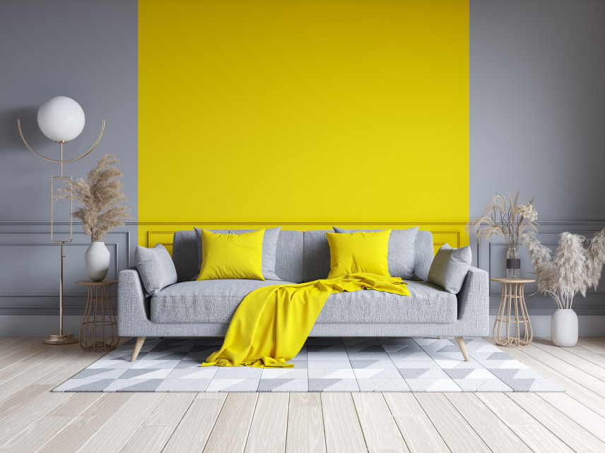Żółto-szara aranżacja salonu