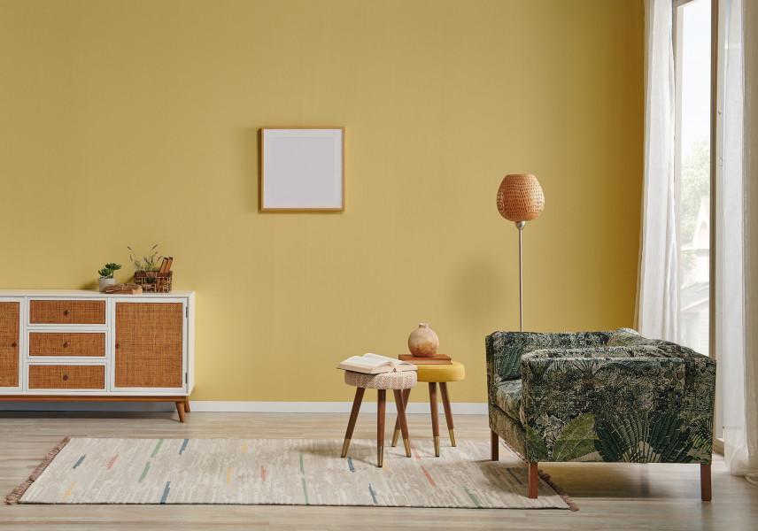 Stonowany salon w kolorze żółtym